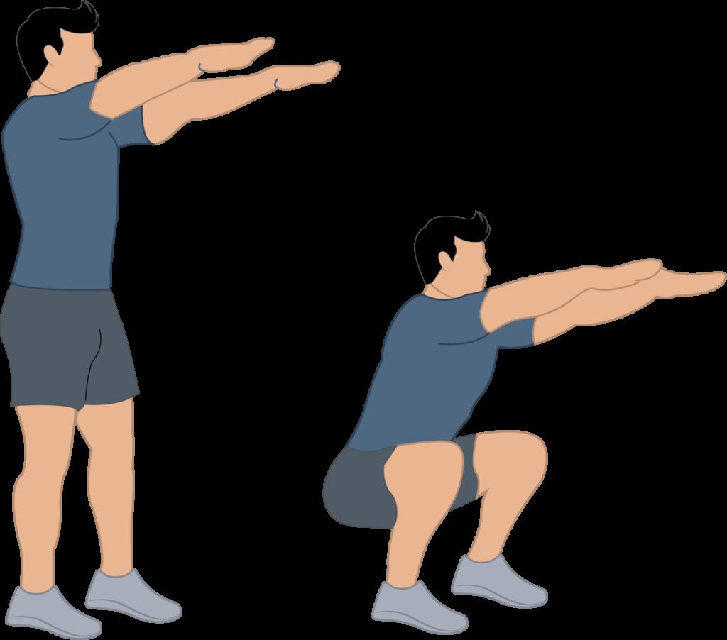 Exercice squat et poids du corps